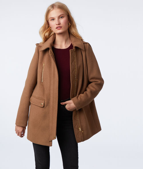 Hooded three quarter length coat
