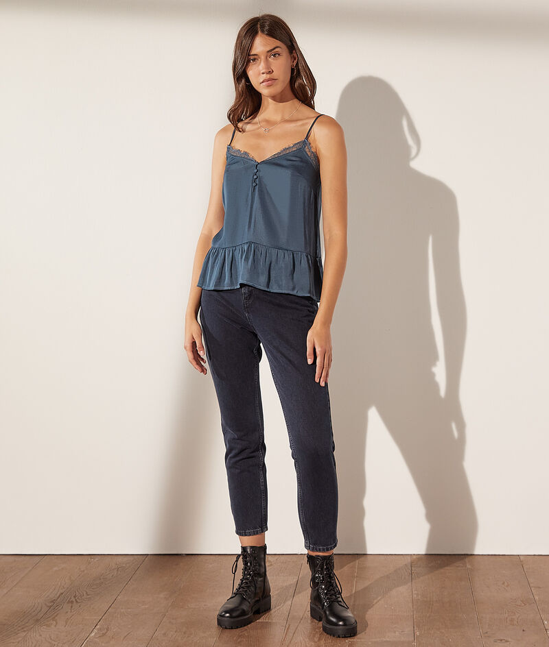 Satin camisole with lace details