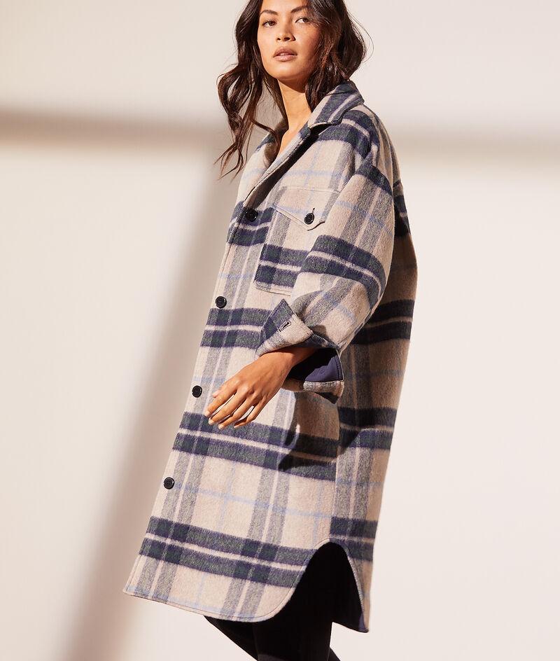 Check mid-length coat