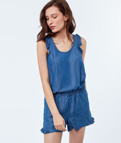 Sleeveless playsuit midwash blue.
