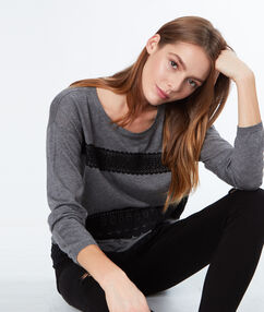 Lace-paneled sweater grey.