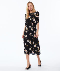 Floral print dress black.