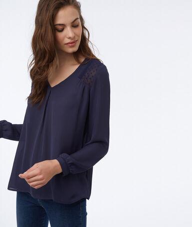 Plumetis back blouse navy blue.