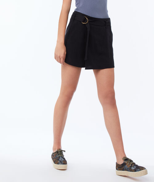 Belted tencel® shorts