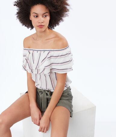 Bare-shouldered striped top ecru.