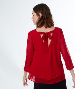 Blouse with bow back red.