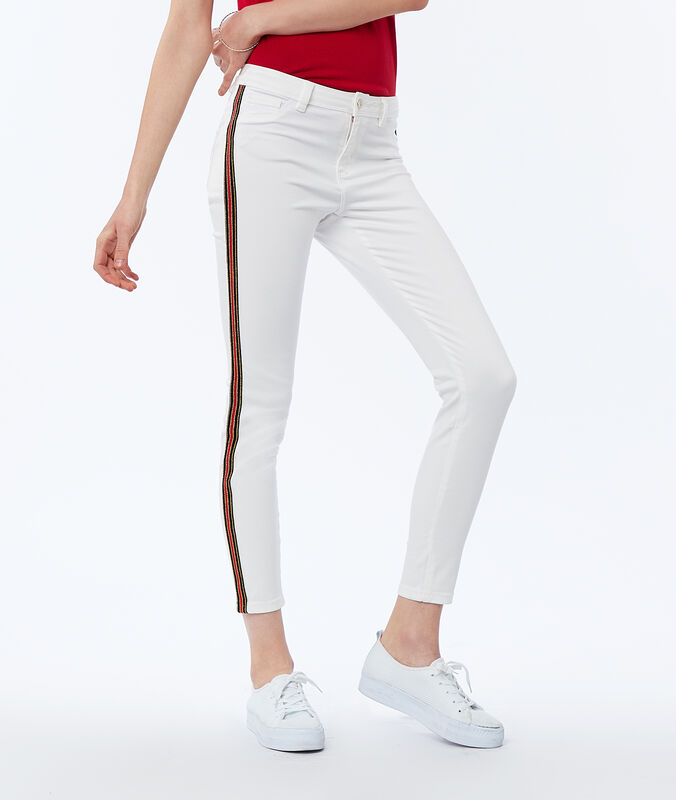 Skinny pants with side band ecru.