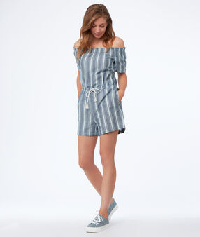 Bare-shouldered striped playsuit medium faded blue.