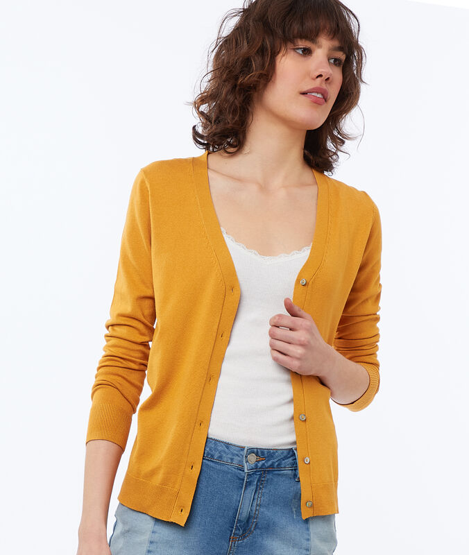 Buttoned cardigan honey.