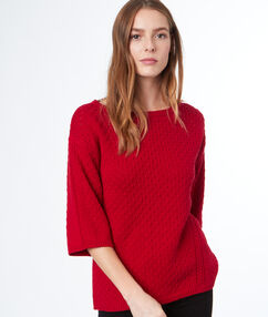 3/4-length sleeve jumper red.