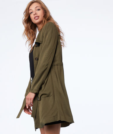 3/4-length flowing trench coat khaki.