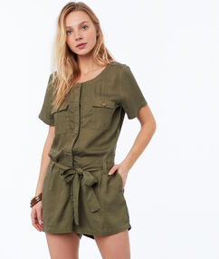 Sleeveless playsuit khaki.