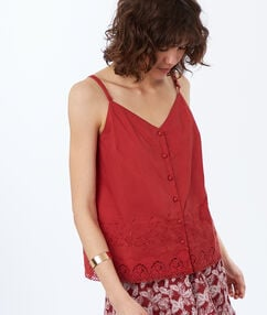 Top with thin straps with embroidery tomato red.