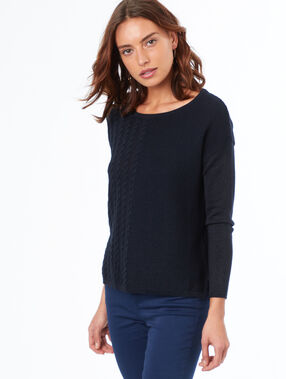 Boat neck sweater navy blue.