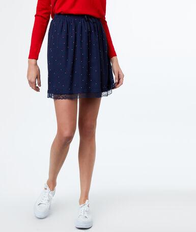 Printed skirt navy blue.