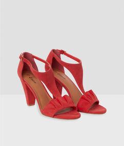 Heeled sandals geranium.
