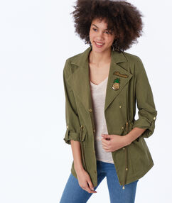 Belted military jacket khaki.