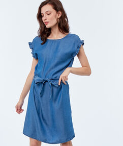 Belted dress midwash blue.