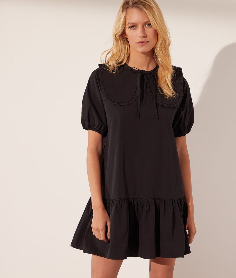 Balloon-sleeved dress with Peter Pan collar