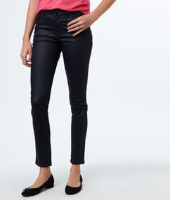 Oilcloth slim-fit trousers navy blue.
