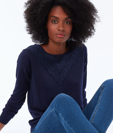 Wide-neck sweater with guipures navy.