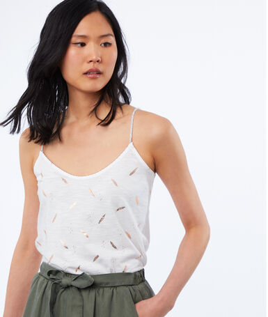 Feather print camisole white.
