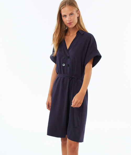 Buttoned tie dress