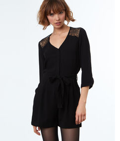 Playsuit with lace panel black.