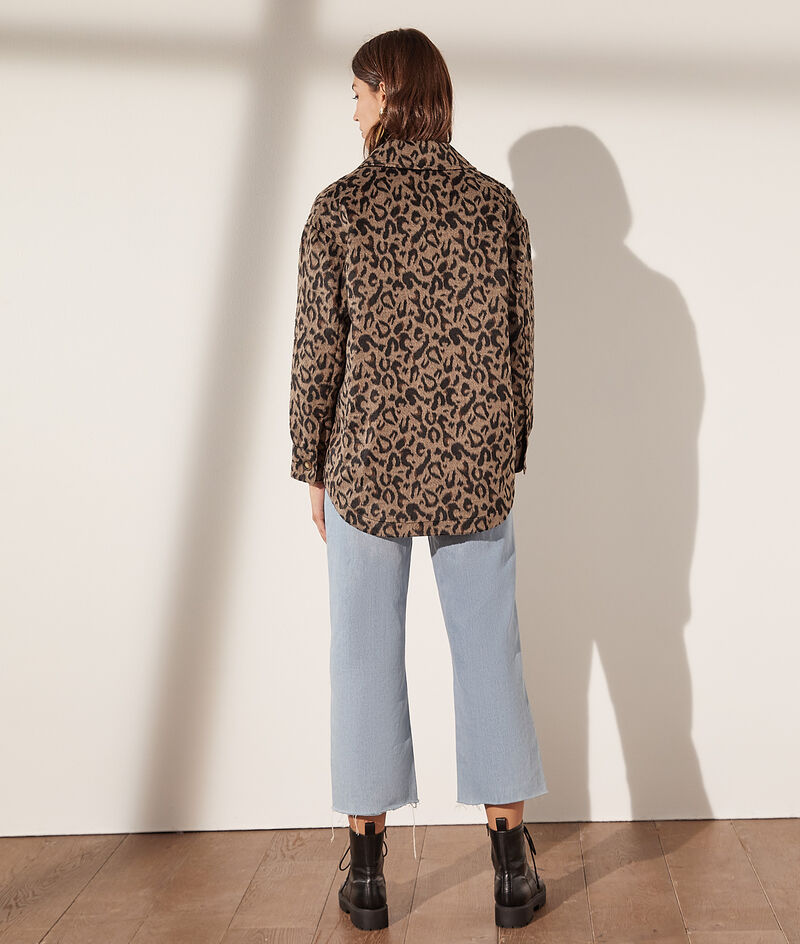 Leopard print overshirt with pockets