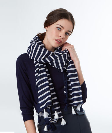 Striped scarf with pompom navy blue.