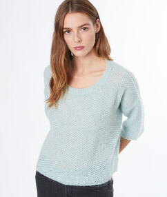 3/4 sleeves sweater light blue.