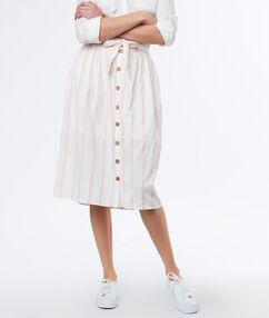 Button up front skirt light pink.