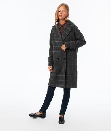 Manteau col tailleur à carreaux gris clair chiné.