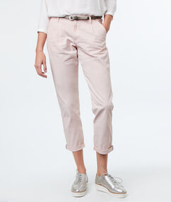 Belted cotton carrot pants nude.