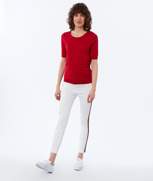 Skinny pants with side band