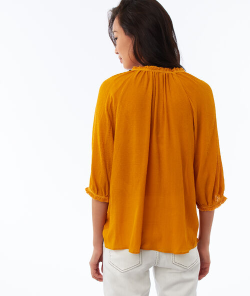 Blouse with Tunisian collar and balloon sleeves