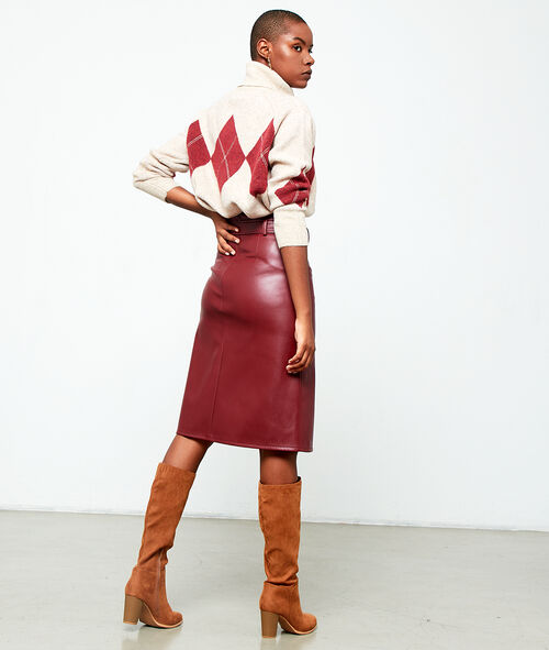 Midi skirt in leather look