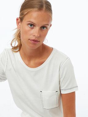 Round neck t-shirt ecru.