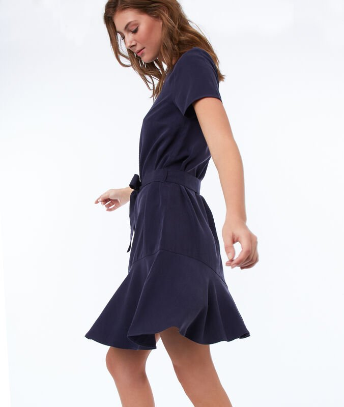 Plain dress with tencel® belt navy blue.