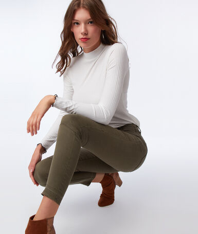 Slim-fit trousers with zips khaki.