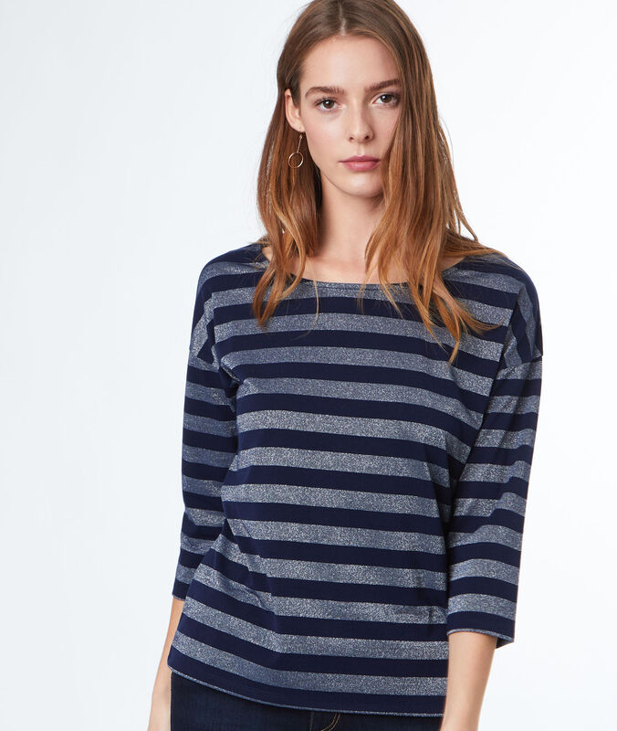 Striped 3/4-length sleeve t-shirt navy blue.
