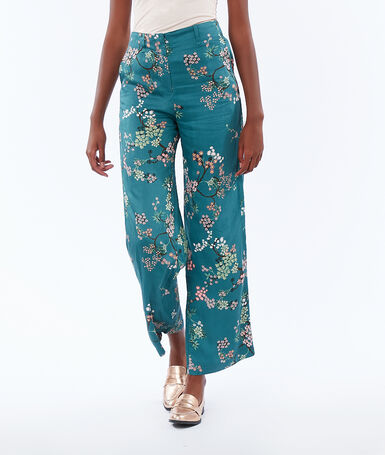 Printed wide pants wasabi.