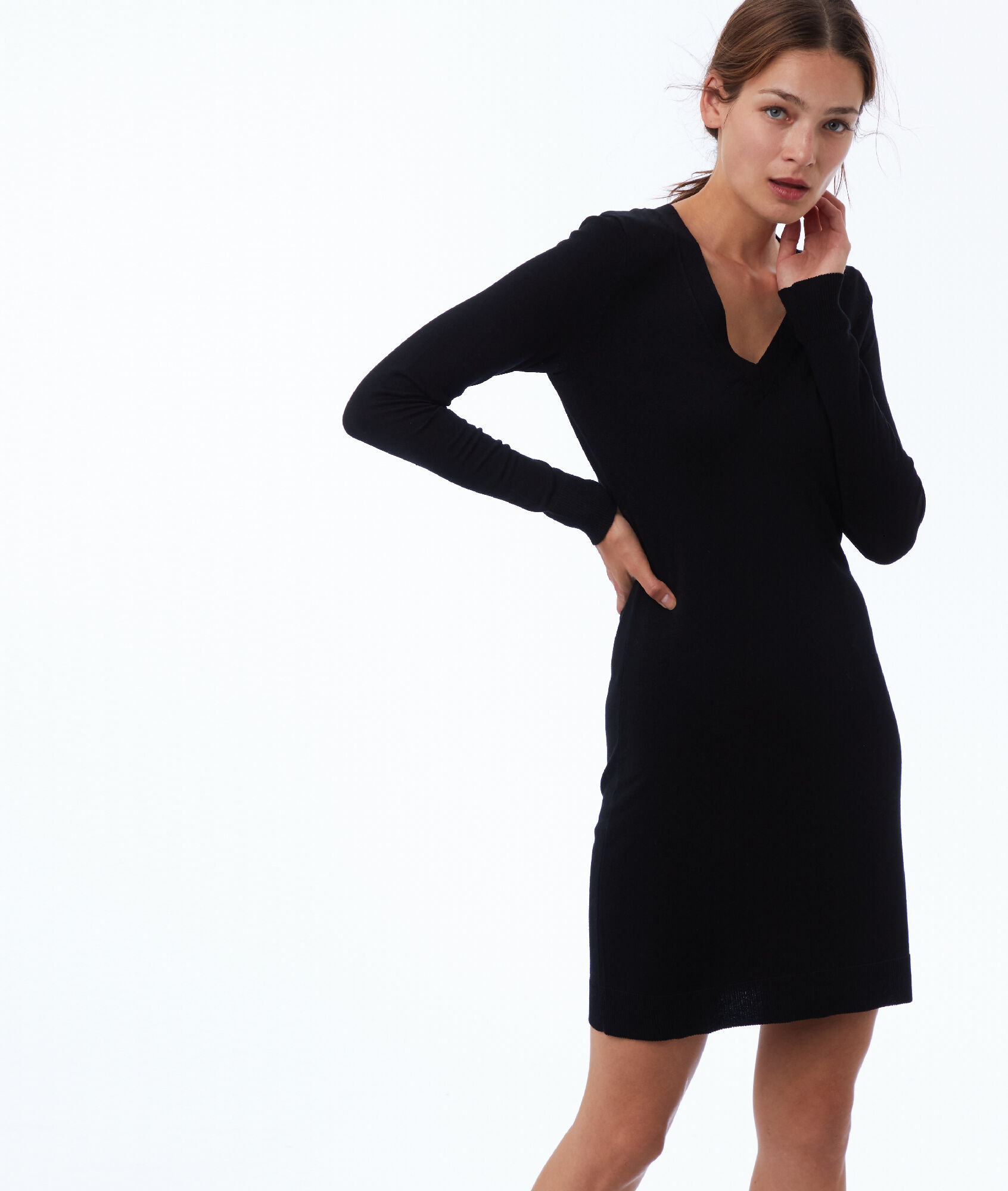 Robe pull col V à manches longues - EDINA - NOIR - Etam 938bd765871b