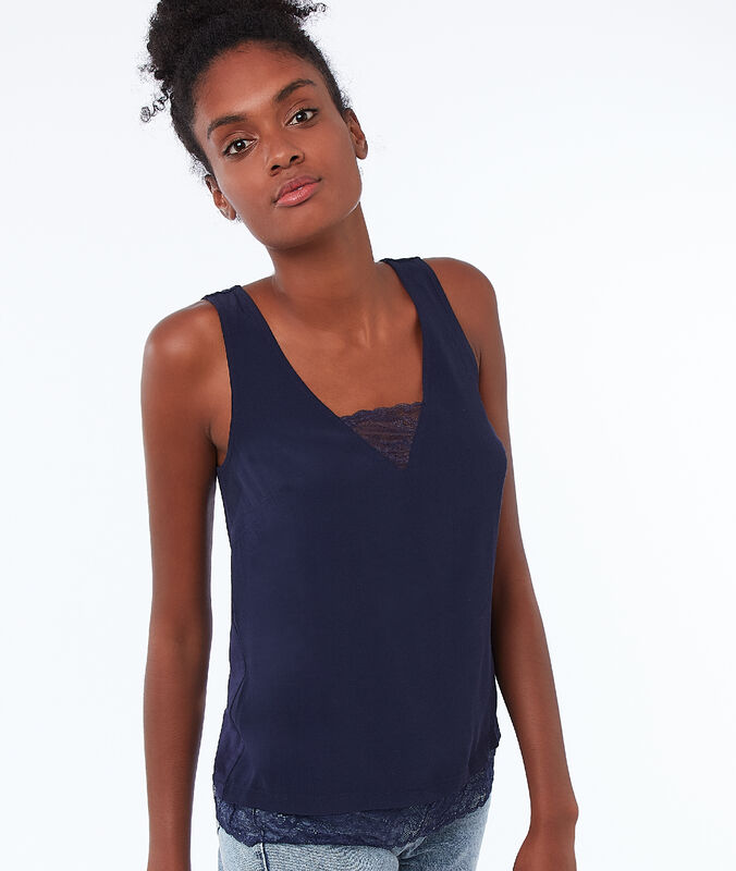 Cotton guipure tank top navy.