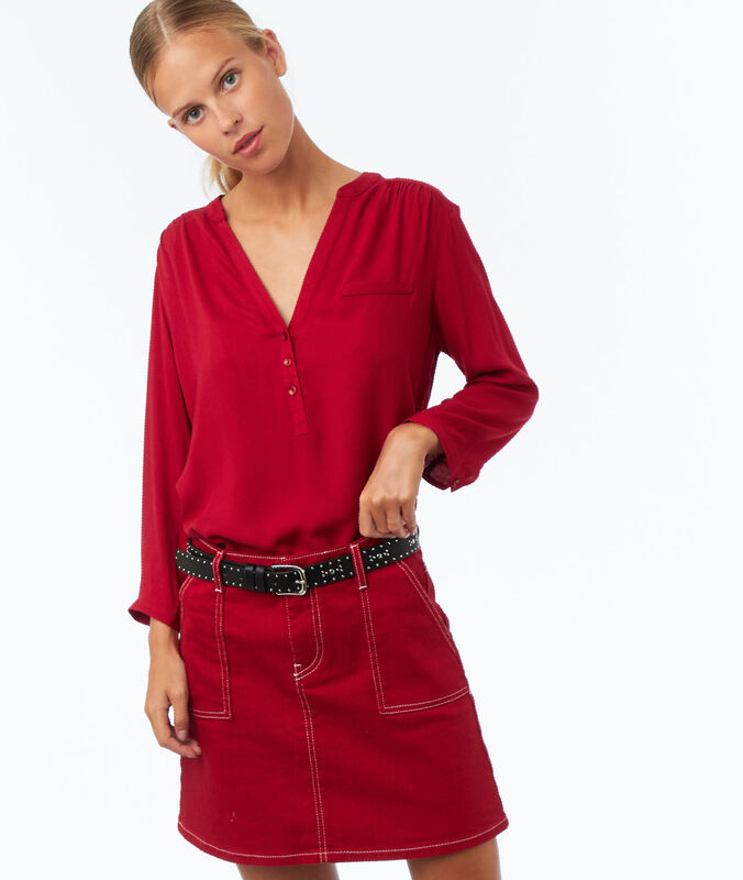 Plain 3/4-length sleeve blouse carmine red.