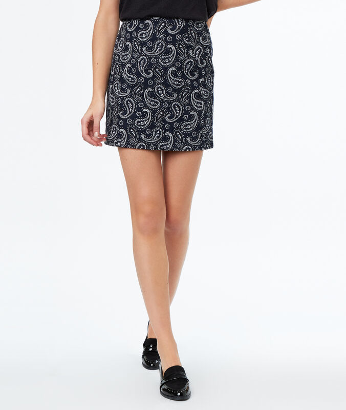 Jacquard skirt navy blue.