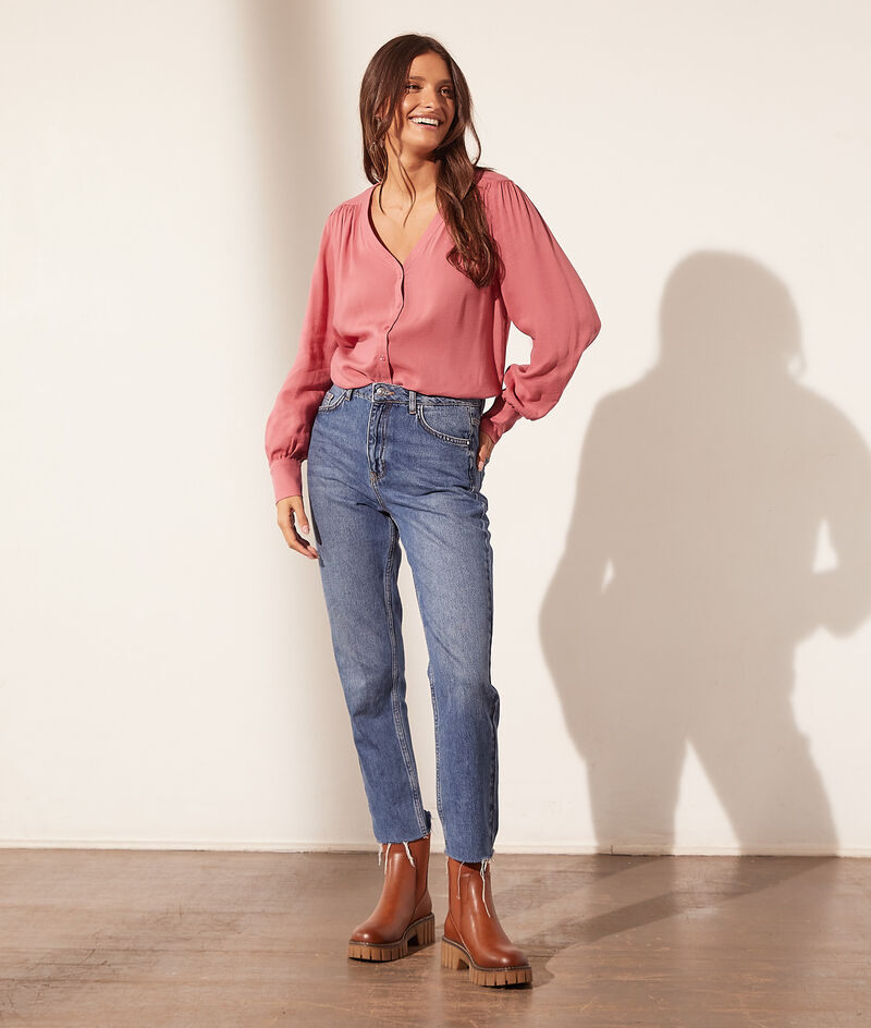 Cotton V-neck blouse