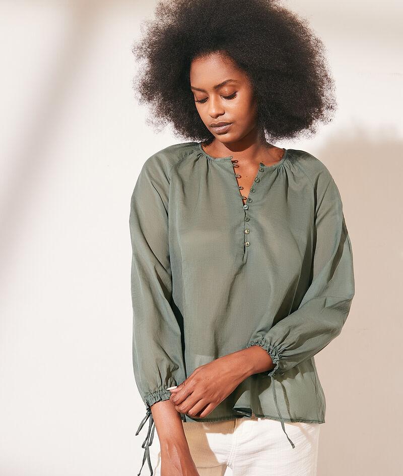 Transparent cotton blouse