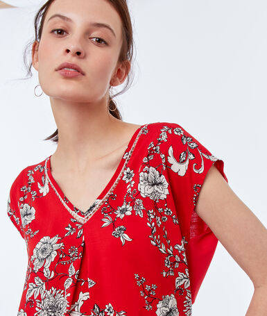 Floral print top red.