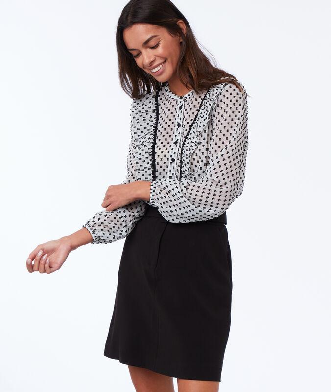Straight skirt with belt black.